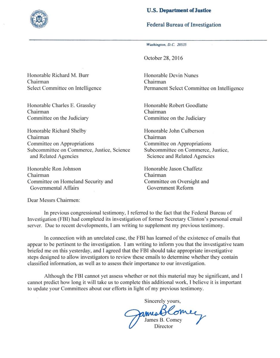 Official Letter To Congress From FBI Director Comey  2nd Follow Up Email After Interview